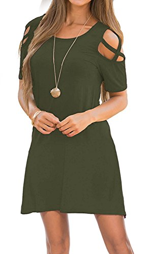 - Womens Dresses Cold Shoulder Round Neck Loose Tunic Casual T Shirt Dress Olive L