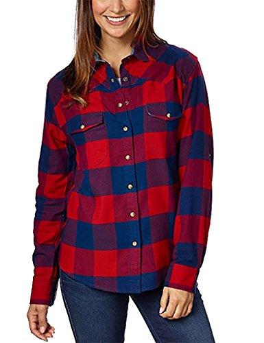 Jachs Girlfriend Ladies' Flannel Shirt (L, RED) (Front Button Flannel)