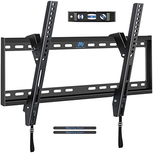 "Mounting Dream Tilt TV Wall Mount TV Bracket for 42-70 Inch OLED, LCD and Plasma TVs, TV Mount up to VESA 600mm and 100 lbs, One-Piece Wall Plate Easy for TV Centering on 16""- 24"" Studs MD2268"