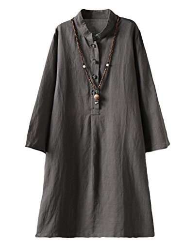(Minibee Women's Linen Retro Frog Button Blouse Loose Tunic Dress with Pockets Gray XL)