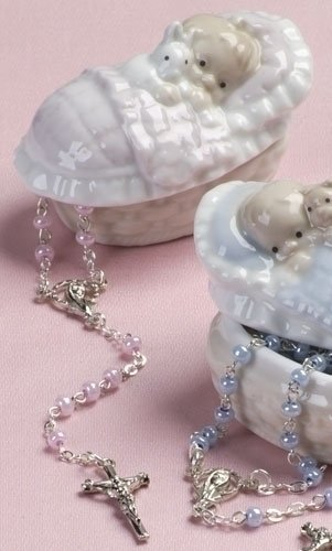 Pink Rosary in a Porcelain Keepsake Box Christening Baptism Gift - Porcelain Rosary Box
