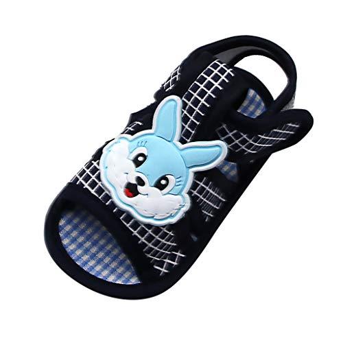 IEasⓄn_Baby Shoes ,2019 Trendy Rabbit Applique Prewalker Soft Sole Sandals Single Shoes Suit (0-18 M) Black