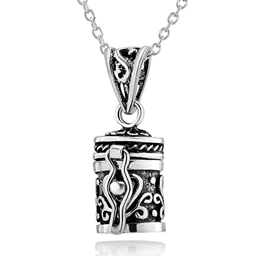 925 Sterling Silver Prayer Box with Floral and Heart Design Pendant Necklace, 18