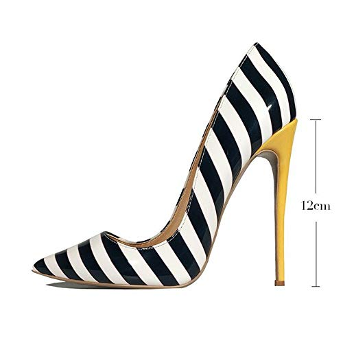 Rayures à à Blanches hauts Taille Chaussures Hauts Femme Grande HCBYJ Talons Talons Blanches XxqfYwRU8