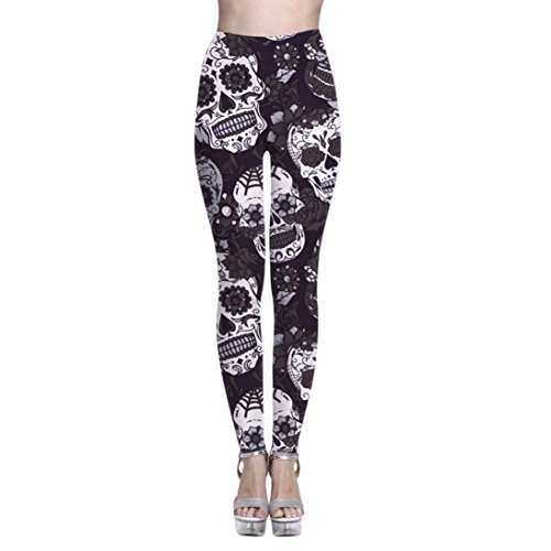 Yoga Pants for Womens, FORUU Print Sports Gym Running Fitness Athletic Trousers (M, Black)