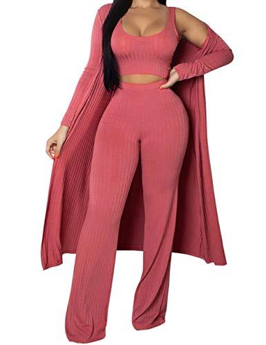 (XXXITICAT Women's Sexy Lace Transparent See Through Wide Leg Pants Tube Top Long Coat Sets Suits(PI,L))
