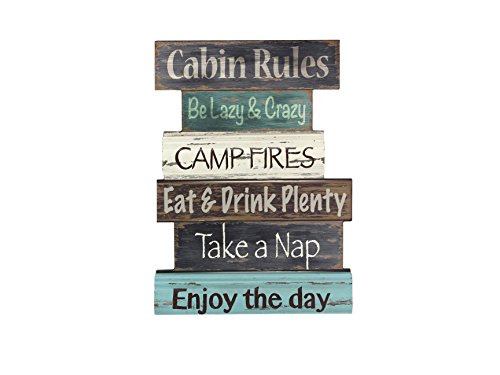 Young's Wood Cabin Rule Wall Sign, 15.5
