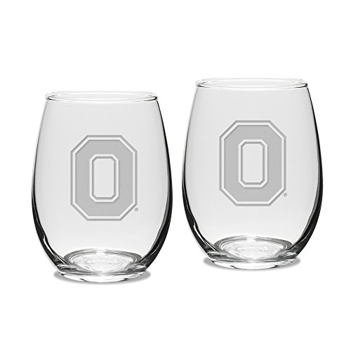 NCAA Ohio State Buckeyes Adult Set of 2-15 oz Stemless Wine Glass Deep Etched Engraved, One Size, - State University Wine Glass