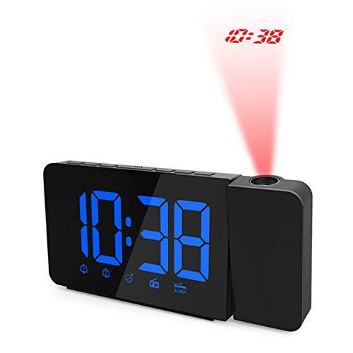LED Proyección Digital Escritorio Radio Reloj Alarma Carga USB ...