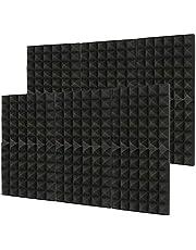 Laelr Paneles acústicos, 12 paquetes de paneles de espuma acústica, paneles de pared insonorizados, 30,5 cm x 30,5 cm x 5 cm, acolchado insonorizado para pared, paneles de absorción de sonido para estudio en casa, color negro