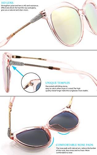 Mode WHCREAT Disponibles Rose UV400 Polarisées pour Eye Classique Gradient Lentille Cadre Lunettes Rose Lentille Soleil Miroir Cat Style De Femme Lentille Protection wqrTRXAq