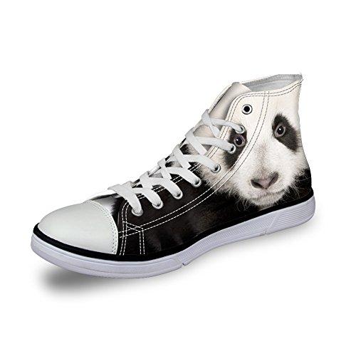 Klemmer Ideen Menn Uformelle Høy Topp Lerret Sko 3d Dyr Trykte Flats Joggesko Panda