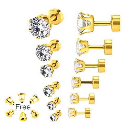 Simulated Diamond Earrings 20G Cubic Zirconia CZ Ear Stud Earrings Gold Plated Stainless Steel Screw Flat Back Post Earrings for Women Men -