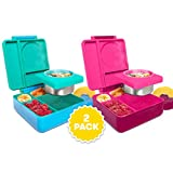 OmieBox Bento Lunch Box for Hot & Cold Food | 3 Compartments, Two Temperature Zones + Thermos Food Jar for Kids - Leak-Proof and Insulated - (Meadow/Pink Berry) (2 Pack)