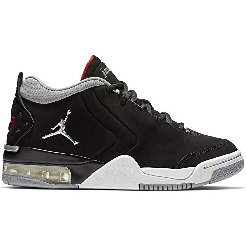 Jordan Youth Big Fund Leather Synthetic Black Red Silver Trainers 7 US