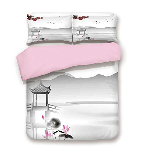 Pink Duvet Cover Set,King Size,Japanese Asian Style Garden with Bird and Small Pavilion Over the Lake Lotus Waterlily,Decorative 3 Piece Bedding Set with 2 Pillow Sham,Best Gift For Girls Women,Grey - Lily Japanese Spider