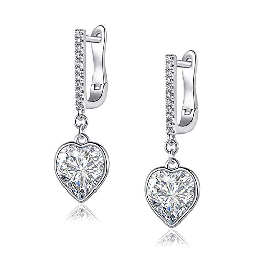 - BVJCU White Gold Heart Earrings, Made with Swarovski Crystals Hypoallergenic Mini Drop Earrings for Women Girls
