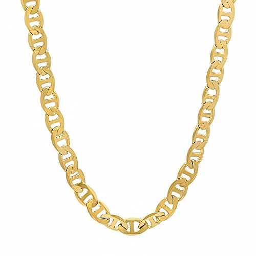 5mm 14k Gold Plated Mariner Chain Necklace, 36
