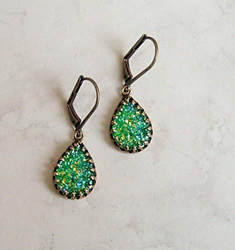 Multi Blue Green Metallic Bezel Teardrop Faux Druzy Quartz Hypoallergenic Bronze Leverback Simple Drop Dangle Earrings Gift Idea