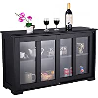 Kitchen Storage Cabinet With Sliding Tempered Glass Door Two Shelves Pantry Sideboard Buffet Cupboard Spacious Top Wooden Construction Space Saving Design Dining Room Restaurant Kitchen Furniture