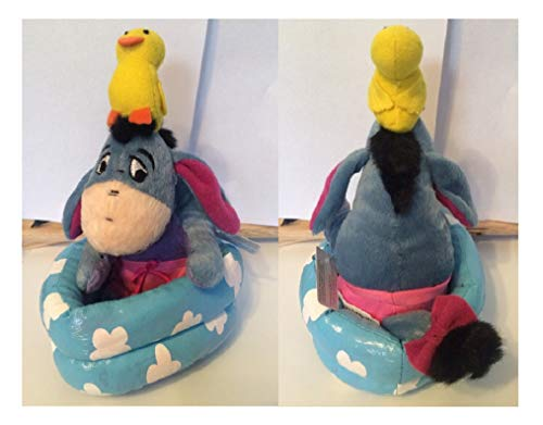 Plush Bath time Eeyore Bean Bag with Rubber Duck on his Head and Sitting in Tub New