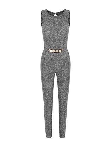 Eleganter Overall Jumpsuit Anzug Catsuit OnePiece Einteiler lang mit Goldschnalle (M, Grau)