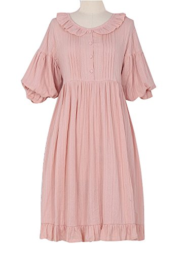 Plaid&Plain Women's Sweet Peter Pan Collar Balloon Sleeve Ruffles Lolita Dresses Pink Freesize Sleeves Lolita Dress