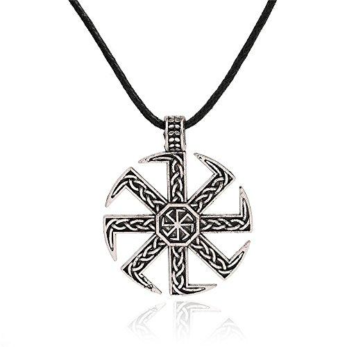 (Myshape Slavic Kolovrat Pendant Amulet Slavic Sun Wheel Necklace Kolovrat Pagan Jewelry Gift)