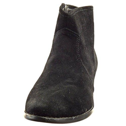 Sopily - Zapatillas de Moda Botines cavalier low boots Tobillo mujer cremallera Talón Tacón ancho 3 CM - Negro