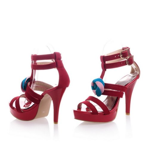 VogueZone009 Womens Open Toe High Heel Platform Stiletto Xi Shi Velvet Frosted Solid Sandals with Flower Red ZfkVnn