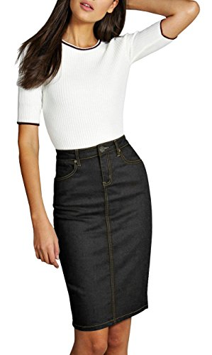 Denim Distressed Skirt Jean Mini - Womens Pull On Stretch Denim Skirt SK22881X Black 14