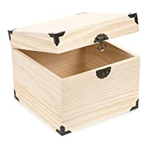 """Darice 30024516 8.3"""" x 6.7"""" Square Wooden Box Unfinished/Natural"""