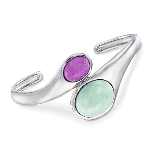 (Ross-Simons 10-19mm Green and Purple Jade Bypass Cuff Bracelet in Sterling Silver)