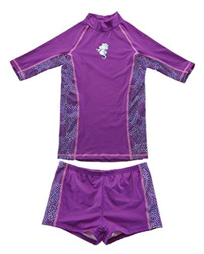 CharmLeaks Girls Sun Protactive Rash Guard and Board Shorts Short Sleeve Sun Shirts 7T