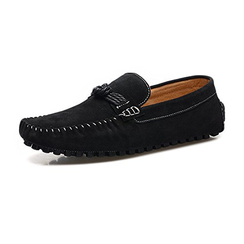 Moccasins Hemp Penny Cricket Black Decor Leather Driving Shoes Rope Genuine Slip on Loafers Men's fAwUqA