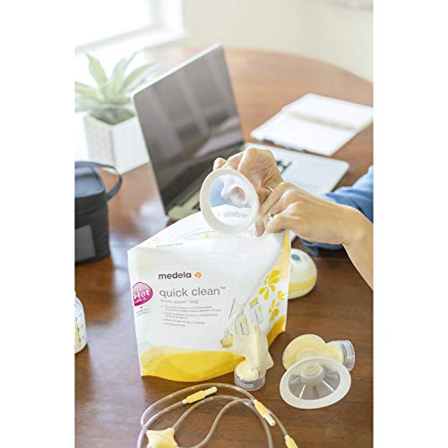 4186ej ttL - Medela Quick Clean Micro-Steam Bags, 12Count Sterilizing Bags For Bottles & Breast Pump Parts, Eliminates 99.9% Of Common Bacteria & Germs, Disinfects Most Breastpump Accessories