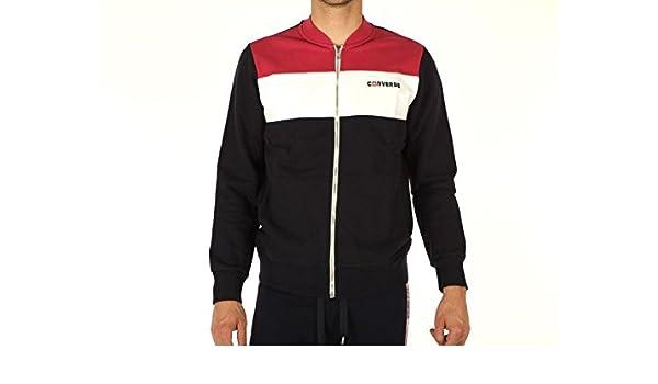 Converse Hombre, Fleece Track Jacket Logo Retro Sport, algodón, Sudaderas, Negro: Amazon.es: Deportes y aire libre