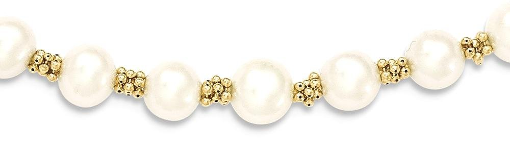 ICE CARATS 14k Yellow Gold Freshwater Cultured Pearl Bracelet 7.25 Inch Fine Jewelry Gift Set For Women Heart