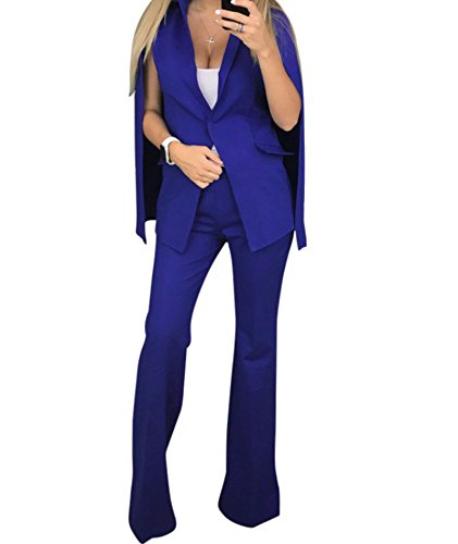 Women's Fashion Suits Long Sleeve Blazers with Long Pants Suiting Blazers Jacket Uniform Blue Small