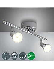 Barras de focos led gu10 4w Iluminación de luz foco direccional para techo-bar -closer con 2 luces blanco cálido Clase de eficiencia energética A++ IP44