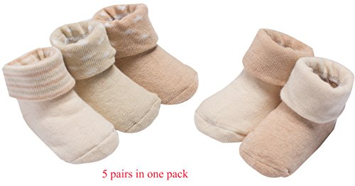 GZMM Unisex Baby Toddler Thick cuff Organic Cotton Seamless Ankle Socks 5Pairs Pack 6-12months