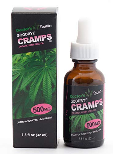 Doctors Touch Goodbye Cramps 100% Organic Full Spectrum Hemp Oil Drops 500MG with Evening Primrose and Avena Sativa All Natural Relief for Women