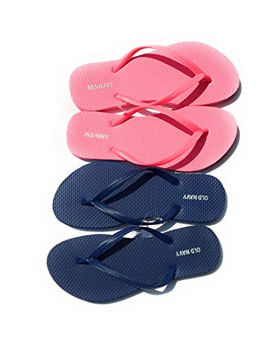 Old Navy Flip Flop Sandals for Woman, Great for Beach or Casual Wear (6, Dark Blue and Pink)