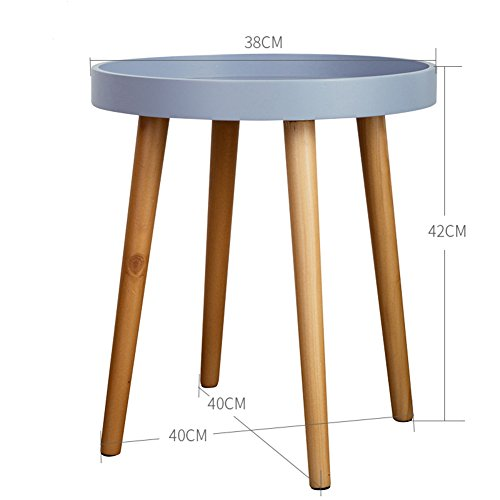 - D&L Solid Wood Waterproof Side Table, Round End Table Nordic Modern Sofa Table Telephone Table Bbalcony Coffee Table Storage Rack-Gray 38x42cm