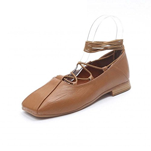 - Sexy Lady Lace Up Ballet Flats Square Toe Strap Mary Jane Dress Shoes Size 35-39 Brown 7.5