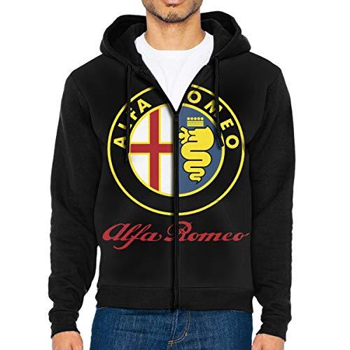Men's Hoodies Alfa Romeo Car Pullover Sweatshirts Hooded with Pockets Jackets Black