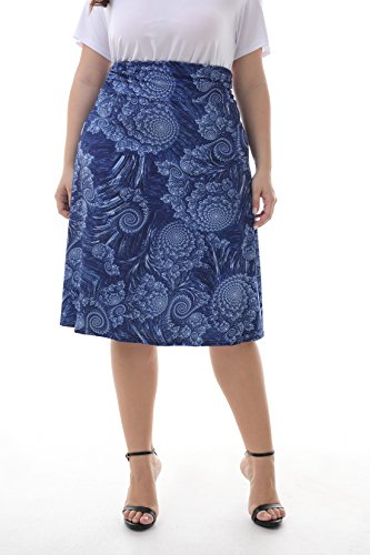 ZERDOCEAN Women's Plus Size High Waisted Bohemian Printed Midi Skirt color07 2X