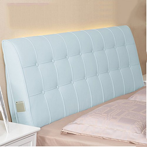 (Cushion Tatami Lumbar pad Solid Color No Bedside Soft Bag Double Bed Leather Bed Large, Large backrest Headgear Home DecorationA+ (Color : Light Blue, Size :)