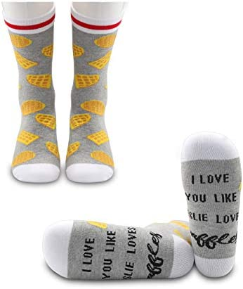 JXGZSO 2 Pairs Parks and Rec Inspired Gift I Love You Like Leslie Loves Waffles Socks Parks and Rec Fan Gift