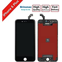 Screen Replacement for iPhone 6 Plus Black Brinonac LCD Display Touch Screen Digitizer Assembly Replacement Screen with Repair Tool kit + Tempered Glass Screen Protector + Instruction